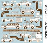 background,bus,cartoon,clumsy,comic,cute,delivery,design,drawing,driving,fuel,gas,group,illustration,lettering