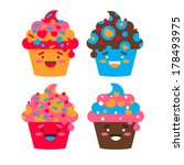 vector set of four funny... | Shutterstock .eps vector #178493975