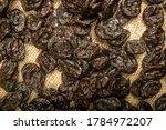 Dried Prunes In Bulk On Burlap...