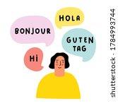 woman speaking in different... | Shutterstock .eps vector #1784993744