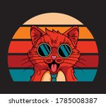 Vintage Cat Wearing Sun Glass...