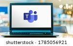 Small photo of POZNAN, POL - JUN 16, 2020: Laptop computer displaying logo of Microsoft Teams, a unified communication and collaboration platform