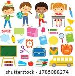 clipart set of school kids and... | Shutterstock .eps vector #1785088274