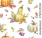 Pumpkins And Leaves. Watercolor ...