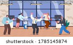 chaos in office. unorganized... | Shutterstock .eps vector #1785145874