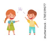 friendly kids greeting each... | Shutterstock .eps vector #1785159077