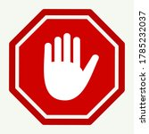 stop icon. no entry hand sign. ... | Shutterstock .eps vector #1785232037