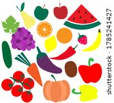set of fruits and vegetables ... | Shutterstock .eps vector #1785241427