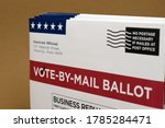 Small photo of Mockup (fake / print-out concept) for election theme of Vote by Mail Ballot envelopes for election.