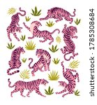set of pink tigers and tropical ... | Shutterstock .eps vector #1785308684