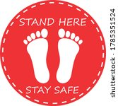 stand here stay safe  red round ...   Shutterstock .eps vector #1785351524