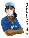 a female doctor or nurse woman...   Shutterstock . vector #1785377744