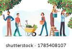 men   women farmers picking... | Shutterstock .eps vector #1785408107