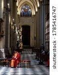 Small photo of Toledo Cathedral/Spain; 07/25/2020: The secretary of Vatican, Cardinal Pietro Parolin, in the eucharist where Luis Miguel Cardaba (c) is ordained as apostolic nuncio in Sudan and Eritrea.