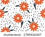 Orange Flower Daisy Hand Drawn...