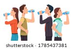 casual and business man   woman ...   Shutterstock .eps vector #1785437381