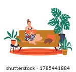 girl reading a book at home.... | Shutterstock .eps vector #1785441884