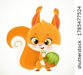 Cute Little Red Squirrel With...