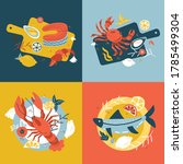 seafood collection. set of hand ... | Shutterstock .eps vector #1785499304