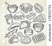 set of various food in sketchy... | Shutterstock . vector #178552751