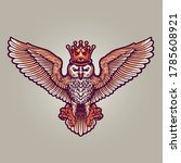 king owl mascot full colour... | Shutterstock .eps vector #1785608921