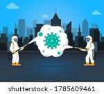 people in hazmat suits cleaning ... | Shutterstock .eps vector #1785609461