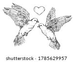 two doves with heart   vector... | Shutterstock .eps vector #1785629957