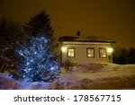 christmas tree outdoors in... | Shutterstock . vector #178567715