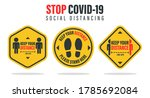 social distance. label the... | Shutterstock .eps vector #1785692084