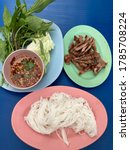 Small photo of Grilled Pock with Thai spicy sauce and Rice vermicelli