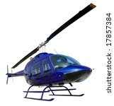 Small Blue Helicopter Isolated...