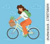 bike garden woman with shopping ... | Shutterstock .eps vector #1785738644