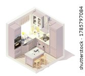 vector isometric kitchen... | Shutterstock .eps vector #1785797084