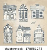 hand drawn vintage homes  | Shutterstock .eps vector #178581275