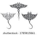 set of manta ray  in maori... | Shutterstock .eps vector #1785815861