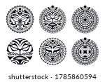 set of round tattoo ornament... | Shutterstock .eps vector #1785860594