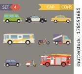 retro flat car icons set vector | Shutterstock .eps vector #178591685