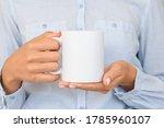 white ceramic mug mockup. girl... | Shutterstock . vector #1785960107