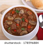 overhead view of a bowl of soup ... | Shutterstock . vector #178596884