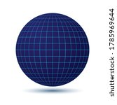 Blue Globe With Grid As Icon O...