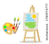 Easel And Colorful Palette With ...