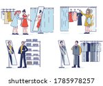 people trying new clothes in... | Shutterstock .eps vector #1785978257