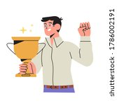 happy man holds gold champion... | Shutterstock .eps vector #1786002191