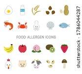 set of food allergen icons | Shutterstock .eps vector #1786044287