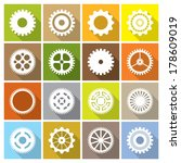 flat icon collection with gears