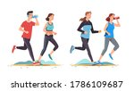 young man   woman couples... | Shutterstock .eps vector #1786109687