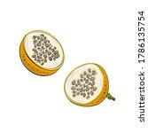 vector set of passion fruit ... | Shutterstock .eps vector #1786135754