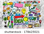 hand doodle business icon set... | Shutterstock . vector #178625021