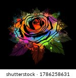 a multi colored rose on a black ... | Shutterstock .eps vector #1786258631