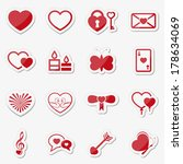 love stickers  labels  icons ... | Shutterstock .eps vector #178634069
